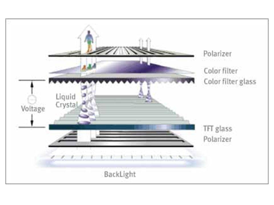 TFT • A képmegjelenítés másik alkalmazása a folyadékkristályos megjelenítők (LCD, liquid crystal display) használata. • A hordozható gépeken és az asz