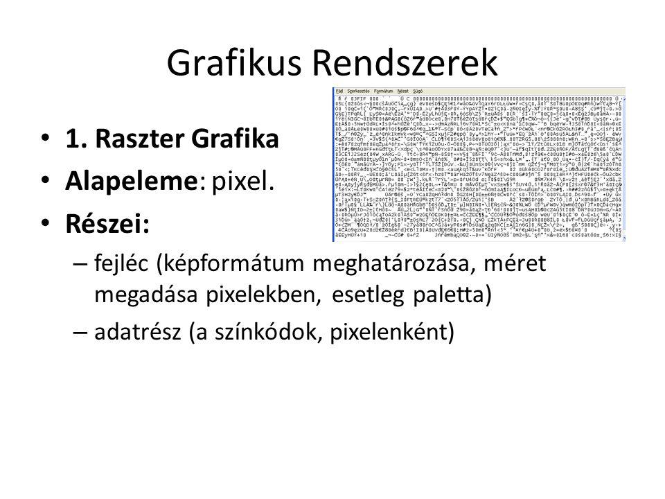 Grafikus Rendszerek • 1. Raszter Grafika • Alapeleme: pixel. • Részei: – fejléc (képformátum meghatározása, méret megadása pixelekben, esetleg paletta