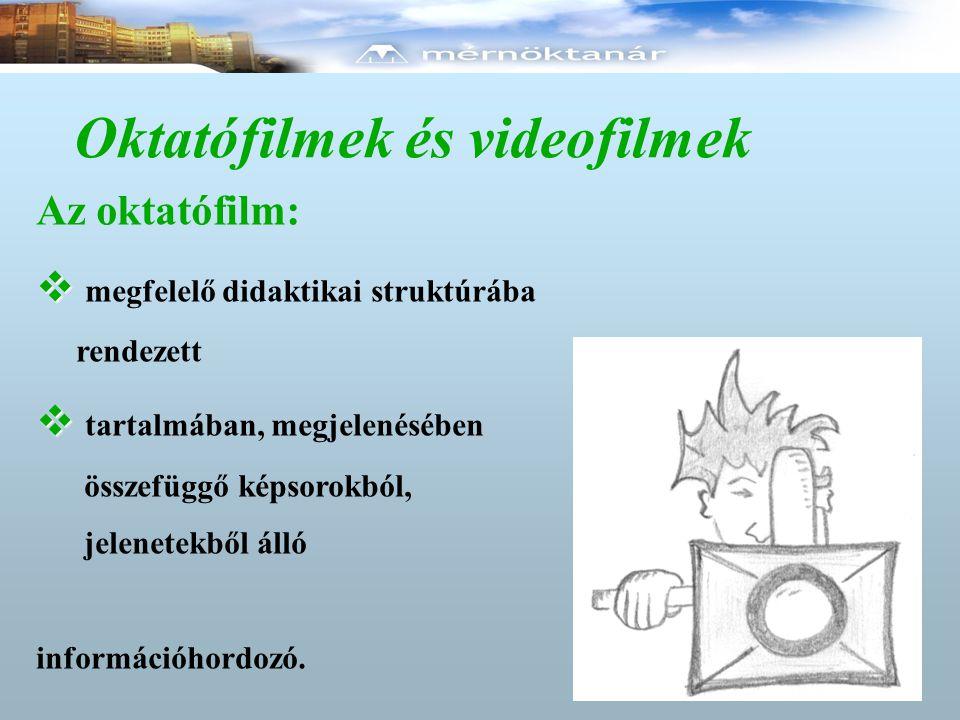 Oktatófilmek és videofilmek Az oktatófilm:   megfelelő didaktikai struktúrába rendezett   tartalmában, megjelenésében összefüggő képsorokból, jelenetekből álló információhordozó.