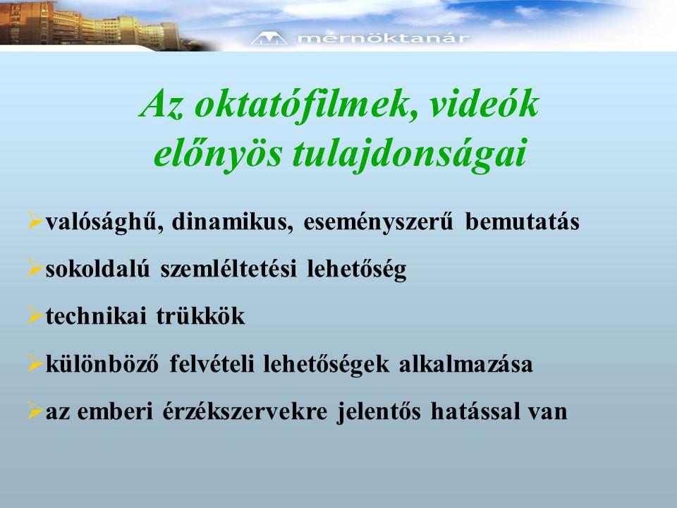 Az oktatófilmek, videók előnyös tulajdonságai  valósághű, dinamikus, eseményszerű bemutatás  sokoldalú szemléltetési lehetőség  technikai trükkök  különböző felvételi lehetőségek alkalmazása  az emberi érzékszervekre jelentős hatással van