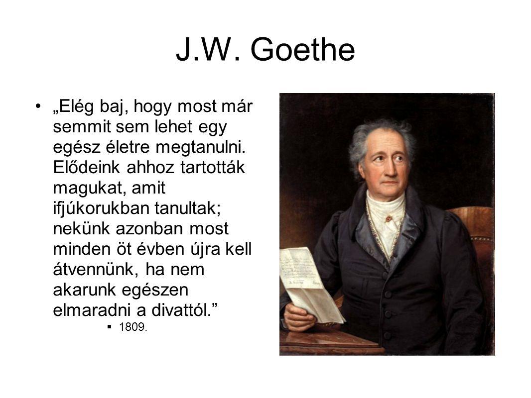 """J.W. Goethe •""""Elég baj, hogy most már semmit sem lehet egy egész életre megtanulni. Elődeink ahhoz tartották magukat, amit ifjúkorukban tanultak; nekü"""
