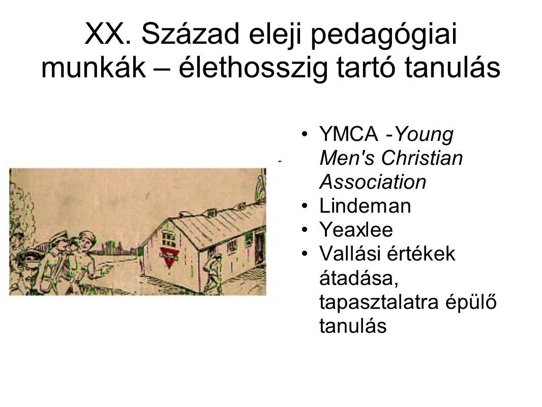 XX. Század eleji pedagógiai munkák – élethosszig tartó tanulás •YMCA -Young Men's Christian Association •Lindeman •Yeaxlee •Vallási értékek átadása, t