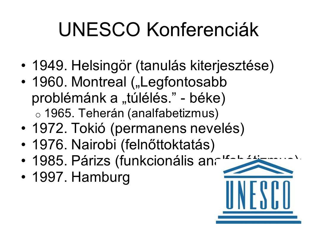 """UNESCO Konferenciák •1949. Helsingör (tanulás kiterjesztése) •1960. Montreal (""""Legfontosabb problémánk a """"túlélés."""" - béke) o 1965. Teherán (analfabet"""