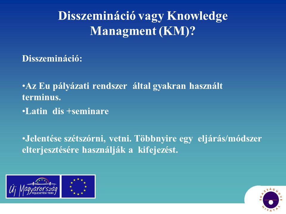 Disszemináció vagy Knowledge Managment (KM)? Disszemináció: •Az Eu pályázati rendszer által gyakran használt terminus. •Latin dis +seminare •Jelentése
