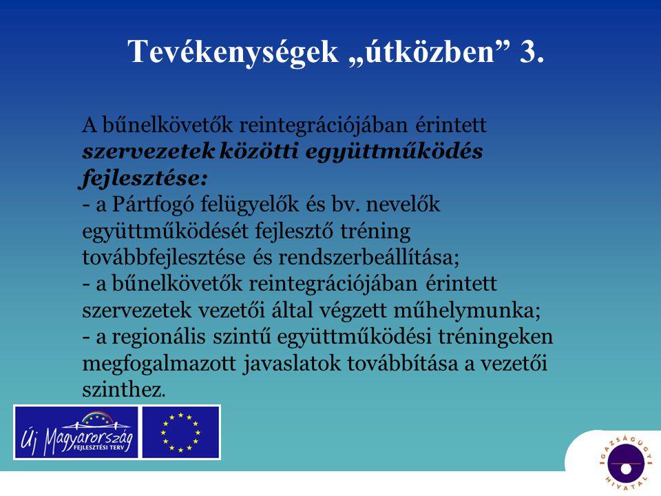 """Tevékenységek """"útközben"""" 3. A bűnelkövetők reintegrációjában érintett szervezetek közötti együttműködés fejlesztése: - a Pártfogó felügyelők és bv. ne"""