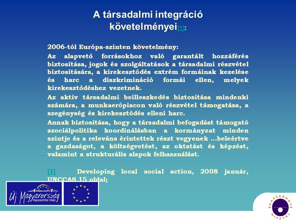 A társadalmi integráció követelményei [1]: [1] 2006-tól Európa-szinten követelmény: Az alapvető forrásokhoz való garantált hozzáférés biztosítása, jog