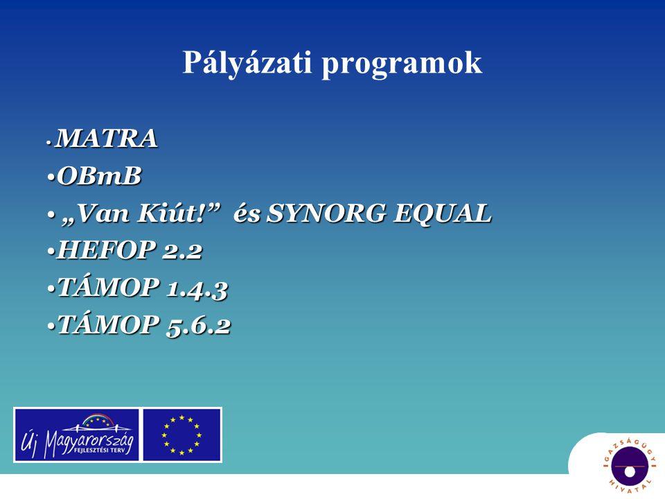"""Pályázati programok • MATRA •OBmB • """"Van Kiút!"""" és SYNORG EQUAL •HEFOP 2.2 •TÁMOP 1.4.3 •TÁMOP 5.6.2"""