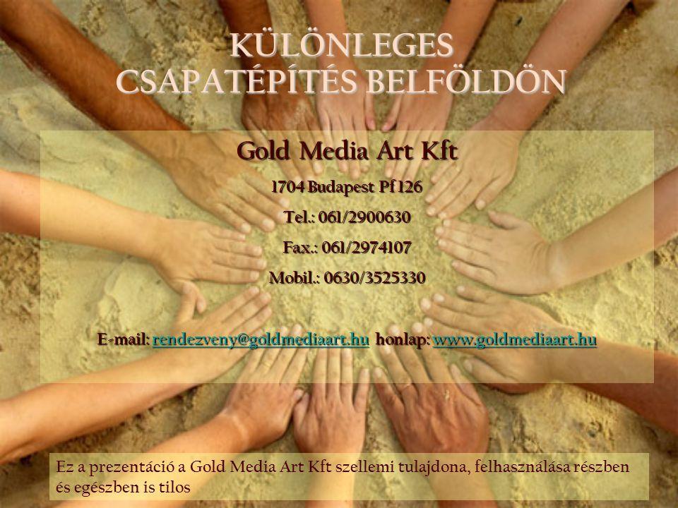 KÜLÖNLEGES CSAPATÉPÍTÉS BELFÖLDÖN Gold Media Art Kft 1704 Budapest Pf 126 Tel.: 061/2900630 Fax.: 061/2974107 Mobil.: 0630/3525330 E-mail: rendezveny@
