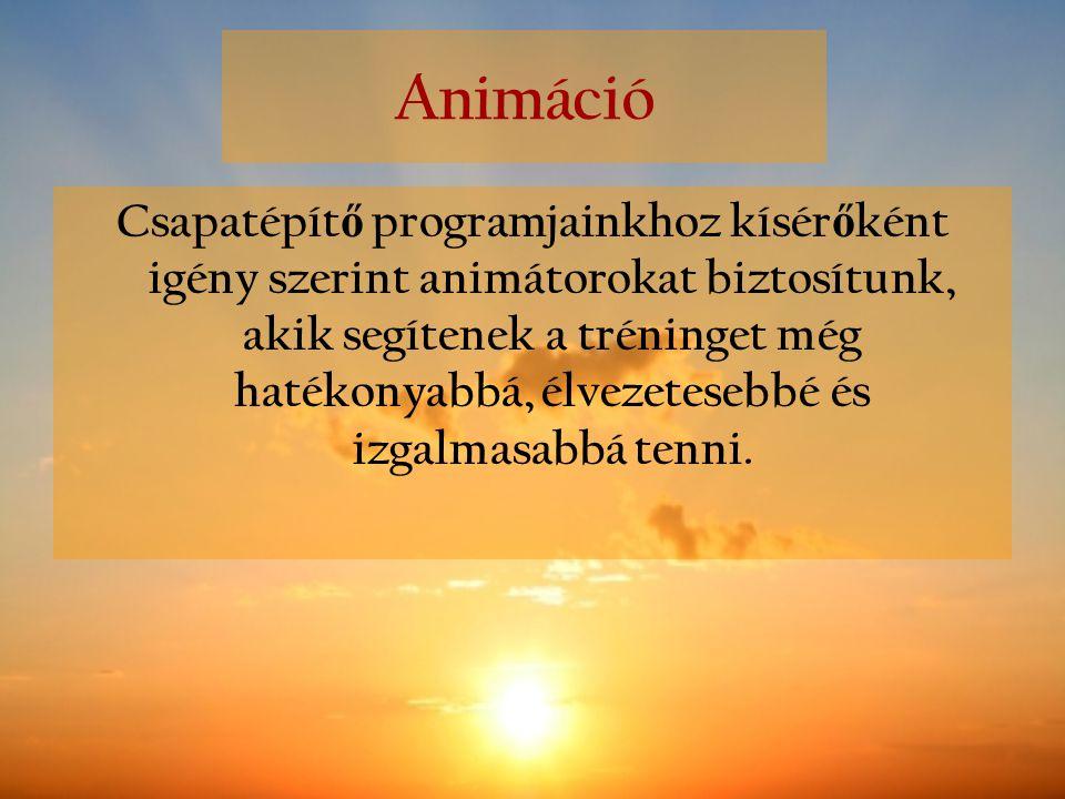 Animáció Csapatépít ő programjainkhoz kísér ő ként igény szerint animátorokat biztosítunk, akik segítenek a tréninget még hatékonyabbá, élvezetesebbé