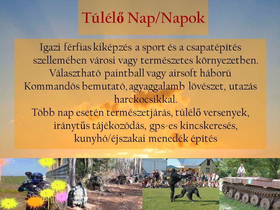 Túlél ő Nap/Napok Igazi férfias kiképzés a sport és a csapatépítés szellemében városi vagy természetes környezetben. Választható paintball vagy airsof