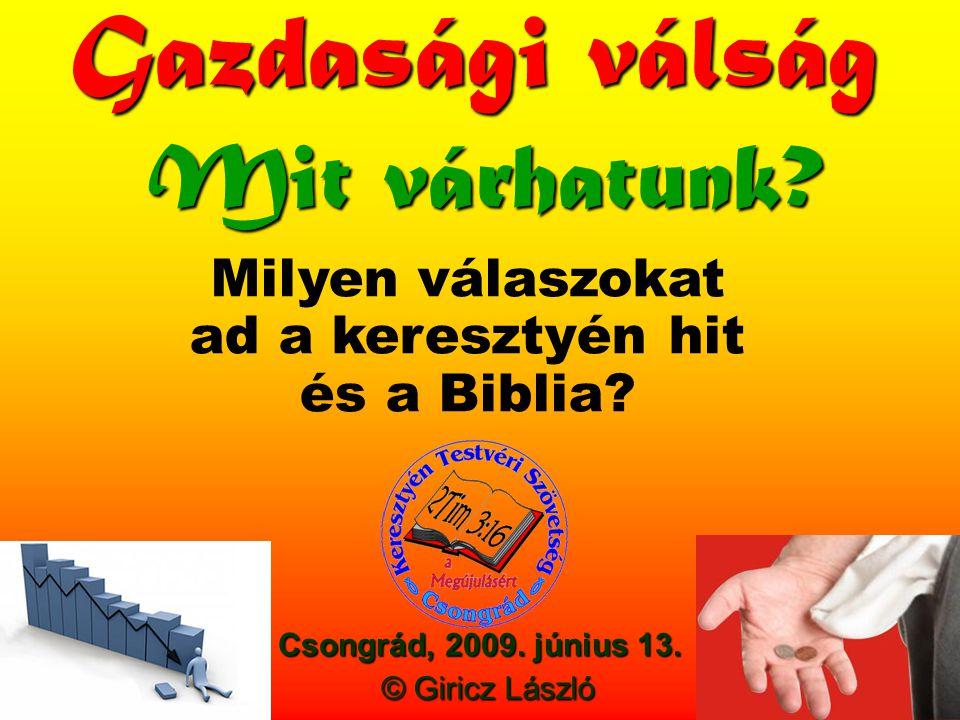 Csongrád, 2009. június 13. Gazdasági válság Mit várhatunk.