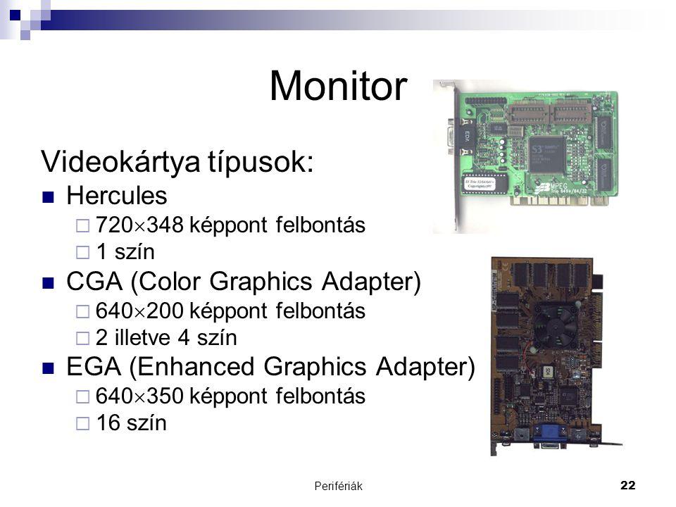 Perifériák22 Monitor Videokártya típusok:  Hercules  720  348 képpont felbontás  1 szín  CGA (Color Graphics Adapter)  640  200 képpont felbont