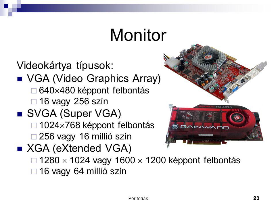 Perifériák23 Monitor Videokártya típusok:  VGA (Video Graphics Array)  640  480 képpont felbontás  16 vagy 256 szín  SVGA (Super VGA)  1024  76
