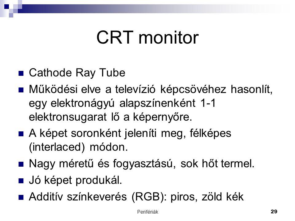 Perifériák29 CRT monitor  Cathode Ray Tube  Működési elve a televízió képcsövéhez hasonlít, egy elektronágyú alapszínenként 1-1 elektronsugarat lő a