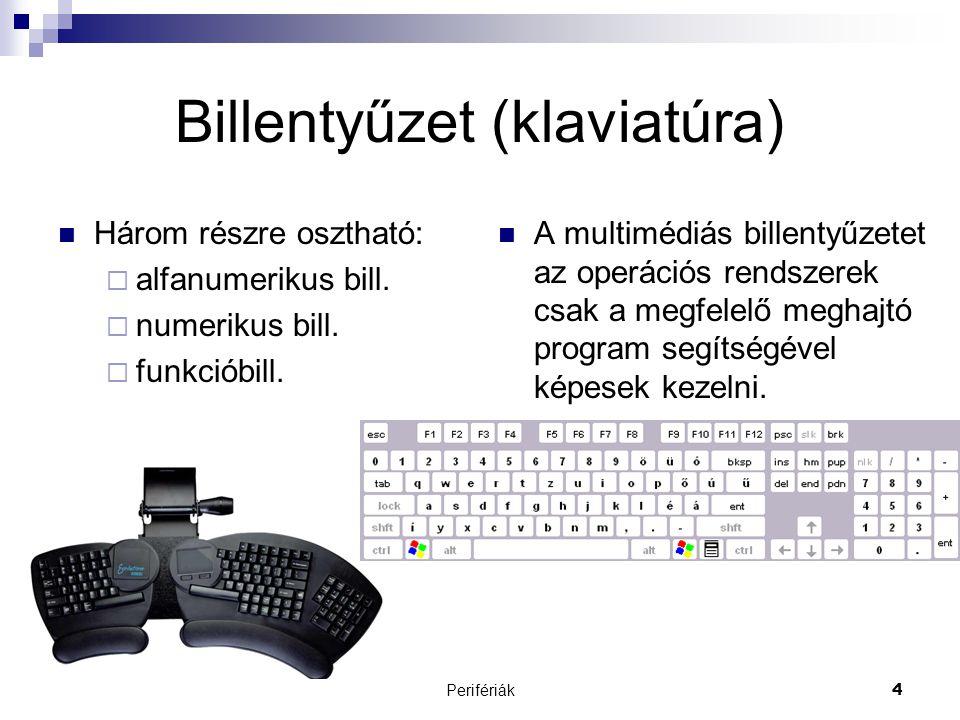 Perifériák4 Billentyűzet (klaviatúra)  Három részre osztható:  alfanumerikus bill.  numerikus bill.  funkcióbill.  A multimédiás billentyűzetet a