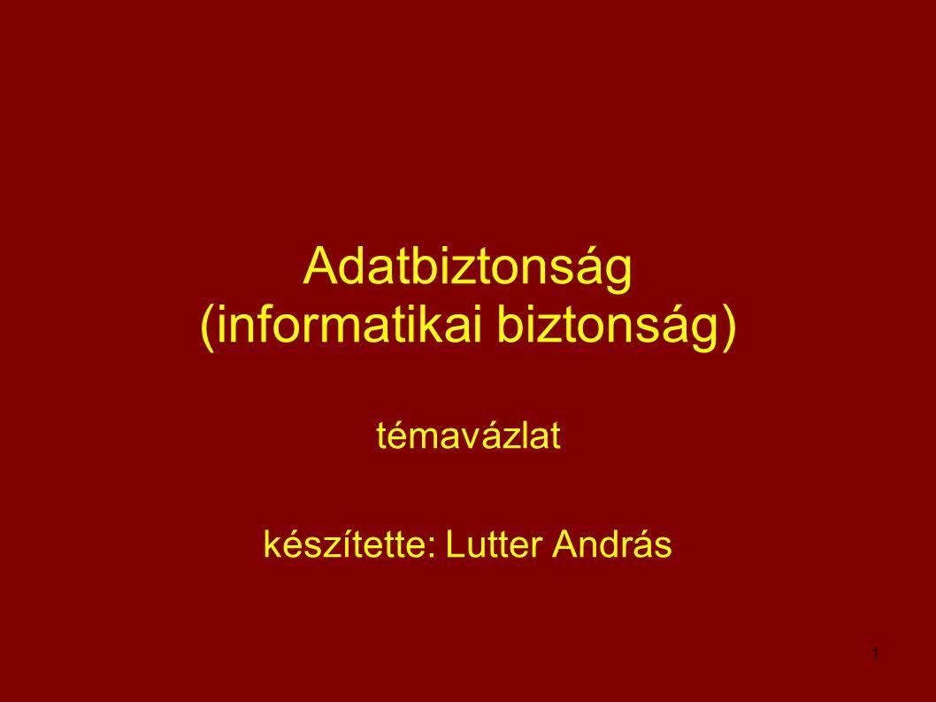 1 Adatbiztonság (informatikai biztonság) témavázlat készítette: Lutter András