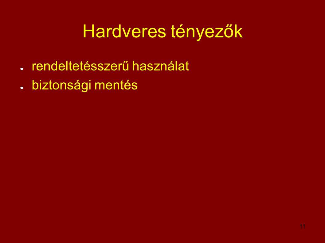 11 Hardveres tényezők ● rendeltetésszerű használat ● biztonsági mentés