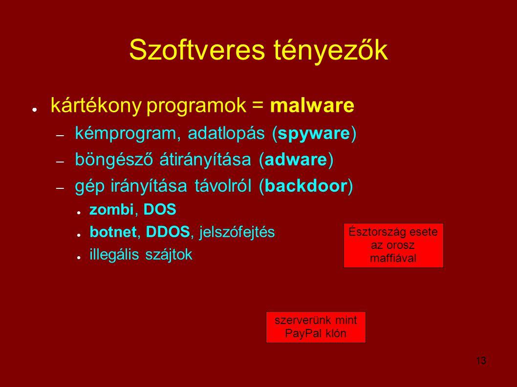 13 Szoftveres tényezők ● kártékony programok = malware – kémprogram, adatlopás (spyware) – böngésző átirányítása (adware) – gép irányítása távolról (b