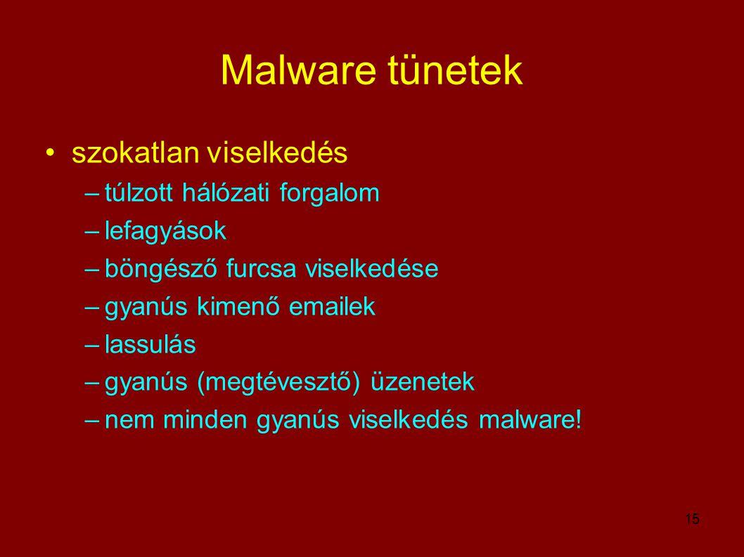 15 Malware tünetek •szokatlan viselkedés –túlzott hálózati forgalom –lefagyások –böngésző furcsa viselkedése –gyanús kimenő emailek –lassulás –gyanús