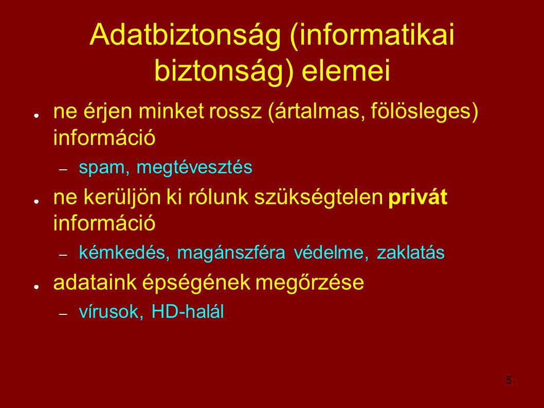 5 Adatbiztonság (informatikai biztonság) elemei ● ne érjen minket rossz (ártalmas, fölösleges) információ – spam, megtévesztés ● ne kerüljön ki rólunk