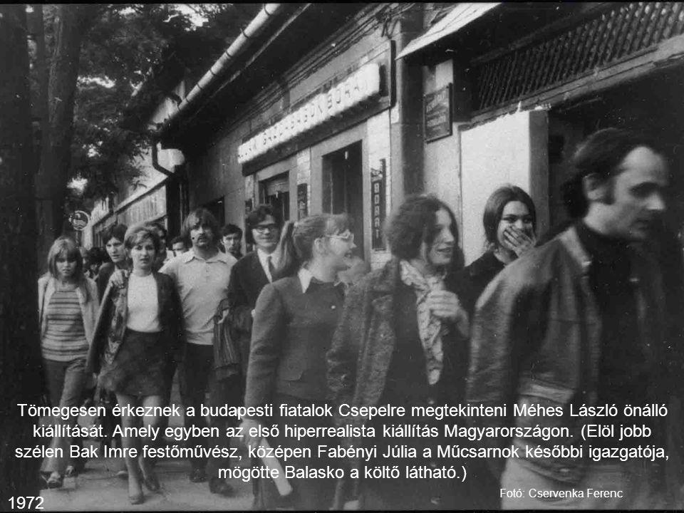 Tömegesen érkeznek a budapesti fiatalok Csepelre megtekinteni Méhes László önálló kiállítását. Amely egyben az első hiperrealista kiállítás Magyarorsz
