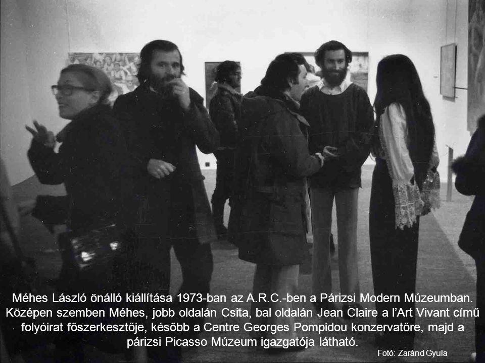 Méhes László önálló kiállítása 1973-ban az A.R.C.-ben a Párizsi Modern Múzeumban. Középen szemben Méhes, jobb oldalán Csita, bal oldalán Jean Claire a