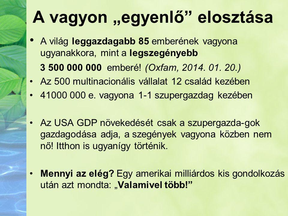 """A vagyon """"egyenlő"""" elosztása •A világ leggazdagabb 85 emberének vagyona ugyanakkora, mint a legszegényebb 3 500 000 000 emberé! (Oxfam, 2014. 01. 20.)"""