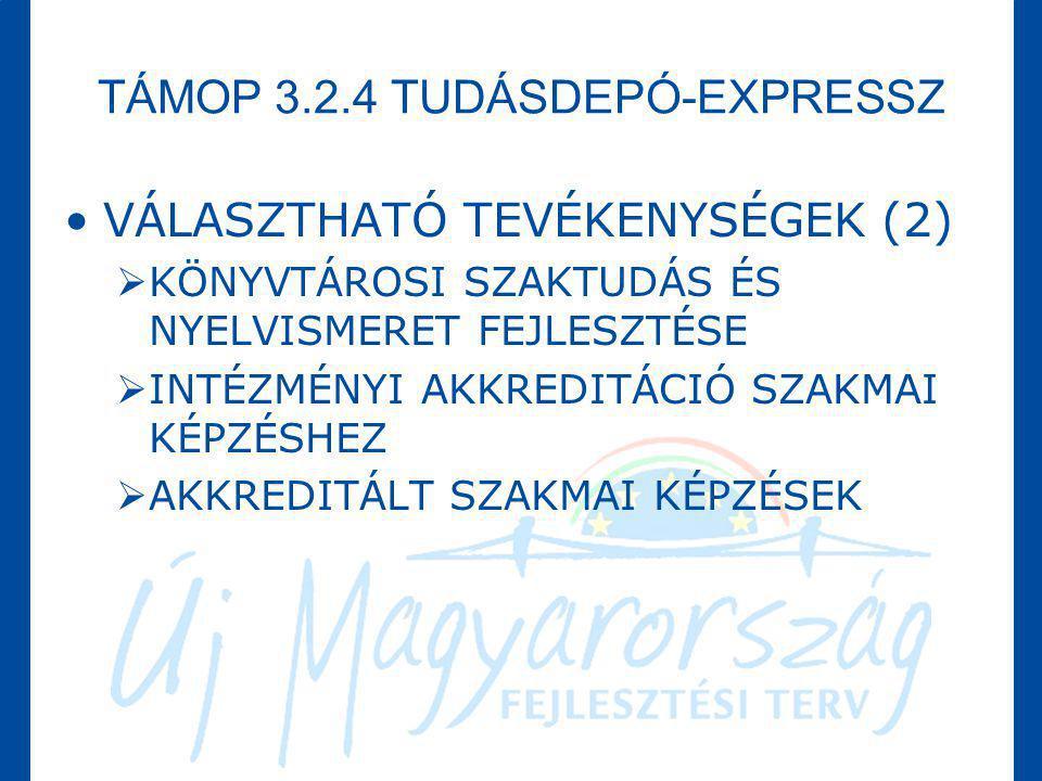 TÁMOP 3.2.4 TUDÁSDEPÓ-EXPRESSZ •VÁLASZTHATÓ TEVÉKENYSÉGEK (2)  KÖNYVTÁROSI SZAKTUDÁS ÉS NYELVISMERET FEJLESZTÉSE  INTÉZMÉNYI AKKREDITÁCIÓ SZAKMAI KÉ