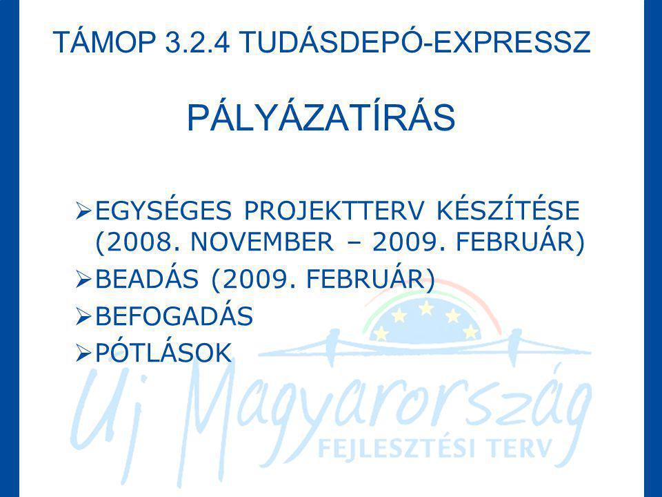 TÁMOP 3.2.4 TUDÁSDEPÓ-EXPRESSZ PÁLYÁZATÍRÁS  EGYSÉGES PROJEKTTERV KÉSZÍTÉSE (2008. NOVEMBER – 2009. FEBRUÁR)  BEADÁS (2009. FEBRUÁR)  BEFOGADÁS  P