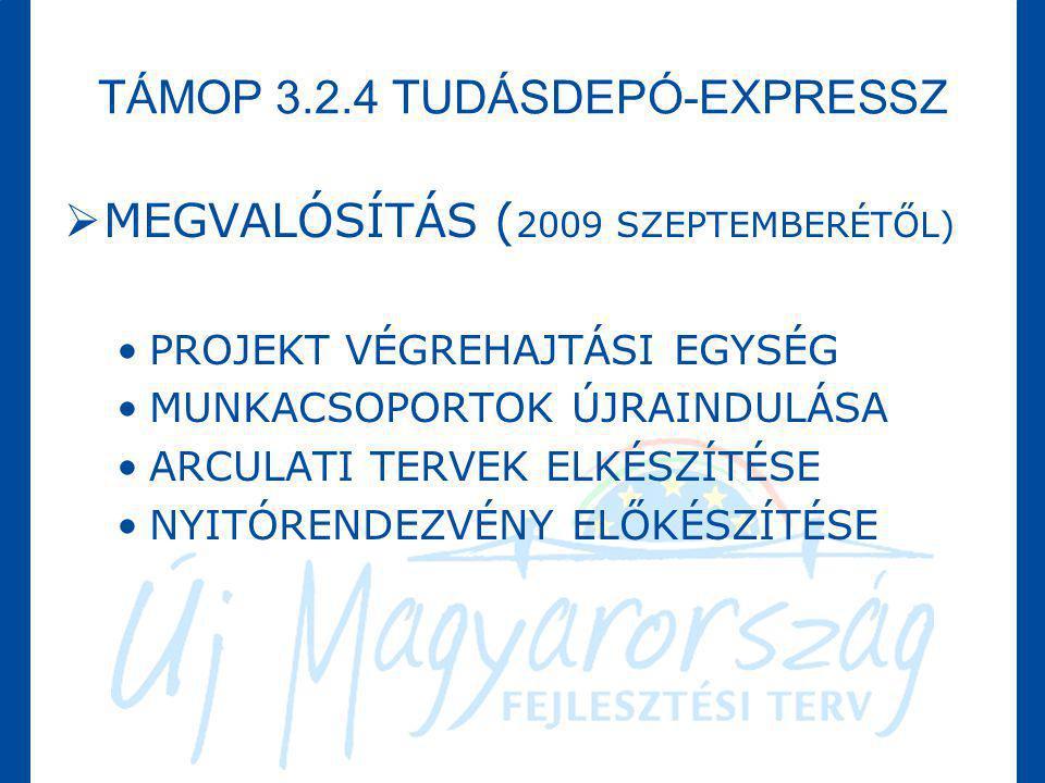 TÁMOP 3.2.4 TUDÁSDEPÓ-EXPRESSZ  MEGVALÓSÍTÁS ( 2009 SZEPTEMBERÉTŐL) •PROJEKT VÉGREHAJTÁSI EGYSÉG •MUNKACSOPORTOK ÚJRAINDULÁSA •ARCULATI TERVEK ELKÉSZ