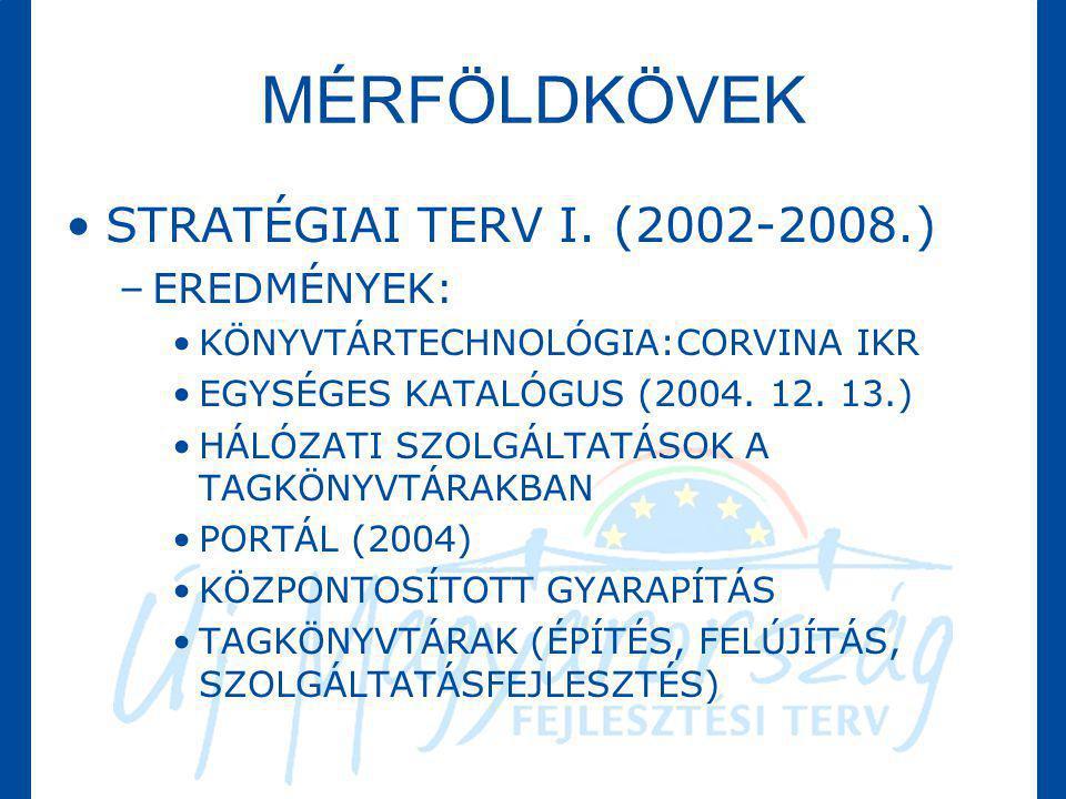 MÉRFÖLDKÖVEK •STRATÉGIAI TERV I. (2002-2008.) –EREDMÉNYEK: •KÖNYVTÁRTECHNOLÓGIA:CORVINA IKR •EGYSÉGES KATALÓGUS (2004. 12. 13.) •HÁLÓZATI SZOLGÁLTATÁS