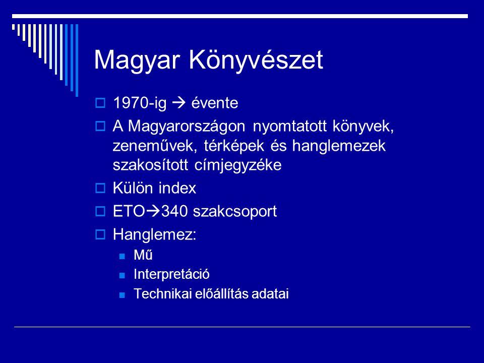 Magyar Könyvészet  1970-ig  évente  A Magyarországon nyomtatott könyvek, zeneművek, térképek és hanglemezek szakosított címjegyzéke  Külön index 