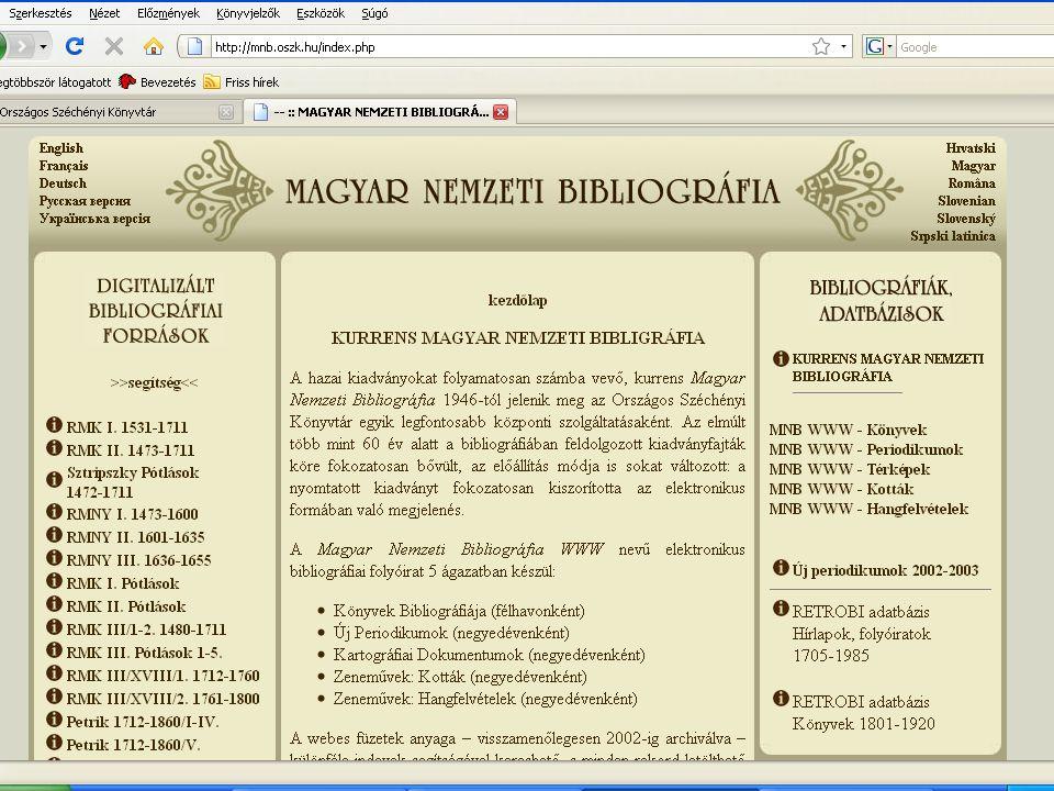 A kurrens nemzeti bibliográfia mai rendszere:  1970: III.