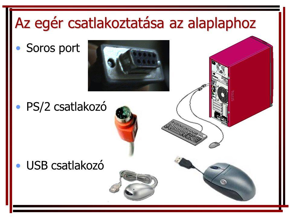 •Soros port •PS/2 csatlakozó •USB csatlakozó Az egér csatlakoztatása az alaplaphoz