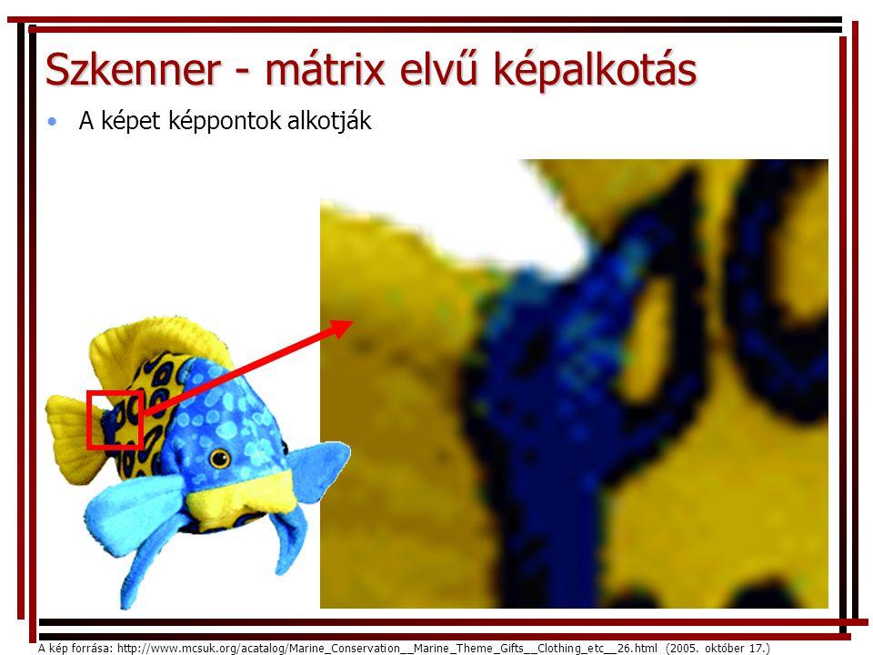 Szkenner - mátrix elvű képalkotás •A képet képpontok alkotják A kép forrása: http://www.mcsuk.org/acatalog/Marine_Conservation__Marine_Theme_Gifts__Clothing_etc__26.html (2005.