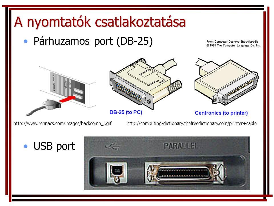 A nyomtatók csatlakoztatása http://www.rennacs.com/images/backcomp_l.gifhttp://computing-dictionary.thefreedictionary.com/printer+cable •Párhuzamos port (DB-25) •USB port