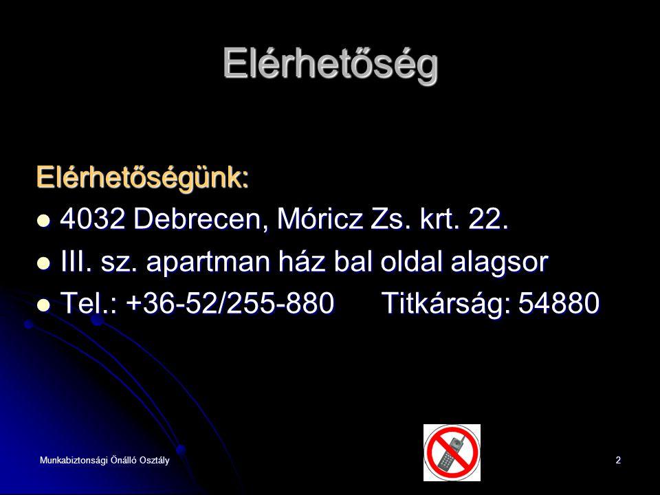Munkabiztonsági Önálló Osztály2 Elérhetőség Elérhetőségünk:  4032 Debrecen, Móricz Zs. krt. 22.  4032 Debrecen, Móricz Zs. krt. 22.  III. sz. apart