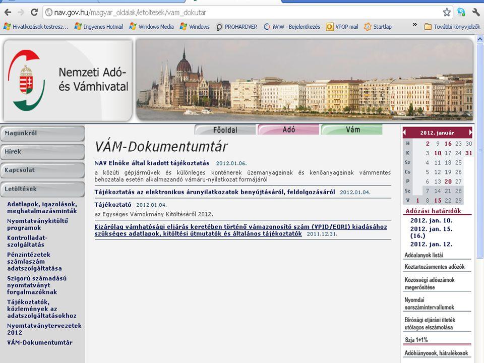 •Új VPID lap elérhetősége