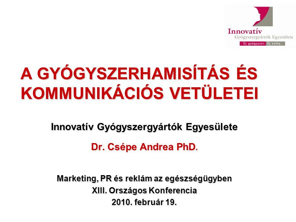 A GYÓGYSZERHAMISÍTÁS ÉS KOMMUNIKÁCIÓS VETÜLETEI Innovatív Gyógyszergyártók Egyesülete Dr. Csépe Andrea PhD. Marketing, PR és reklám az egészségügyben