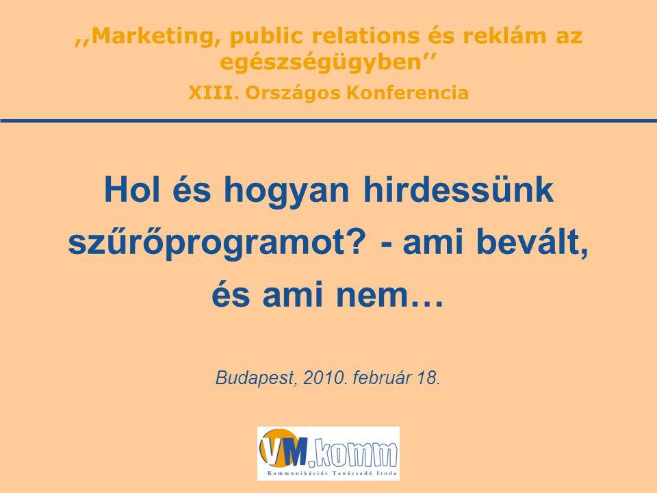 Budapest, 2010. február 18. Hol és hogyan hirdessünk szűrőprogramot? - ami bevált, és ami nem…,,Marketing, public relations és reklám az egészségügybe