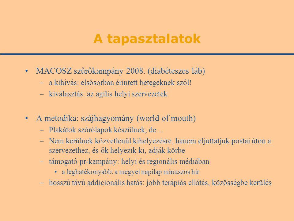 A tapasztalatok •MACOSZ szűrőkampány 2008. (diabéteszes láb) –a kihívás: elsősorban érintett betegeknek szól! –kiválasztás: az agilis helyi szervezete
