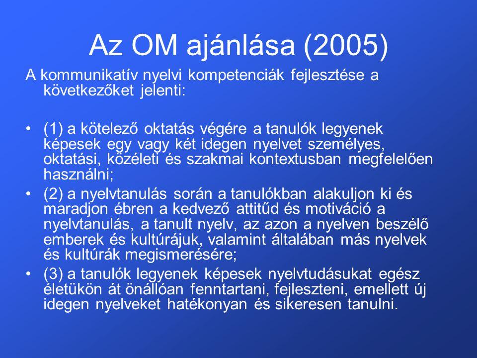 Az OM ajánlása (2005) A kommunikatív nyelvi kompetenciák fejlesztése a következőket jelenti: •(1) a kötelező oktatás végére a tanulók legyenek képesek egy vagy két idegen nyelvet személyes, oktatási, közéleti és szakmai kontextusban megfelelően használni; •(2) a nyelvtanulás során a tanulókban alakuljon ki és maradjon ébren a kedvező attitűd és motiváció a nyelvtanulás, a tanult nyelv, az azon a nyelven beszélő emberek és kultúrájuk, valamint általában más nyelvek és kultúrák megismerésére; •(3) a tanulók legyenek képesek nyelvtudásukat egész életükön át önállóan fenntartani, fejleszteni, emellett új idegen nyelveket hatékonyan és sikeresen tanulni.