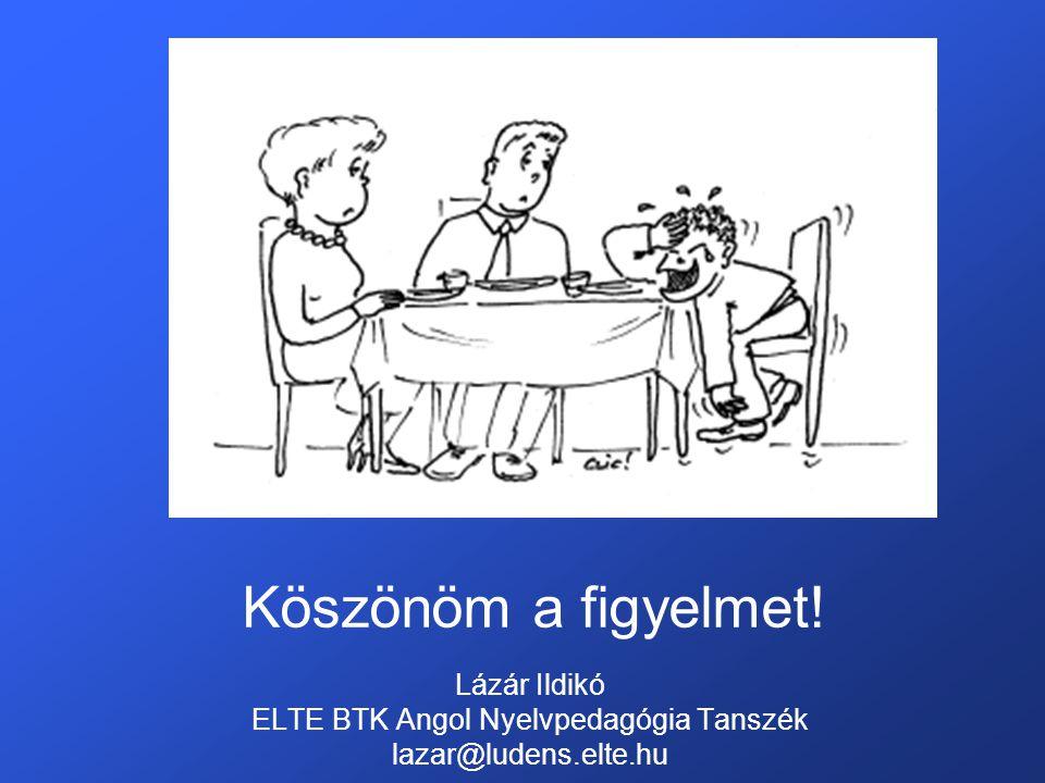 Köszönöm a figyelmet! Lázár Ildikó ELTE BTK Angol Nyelvpedagógia Tanszék lazar@ludens.elte.hu