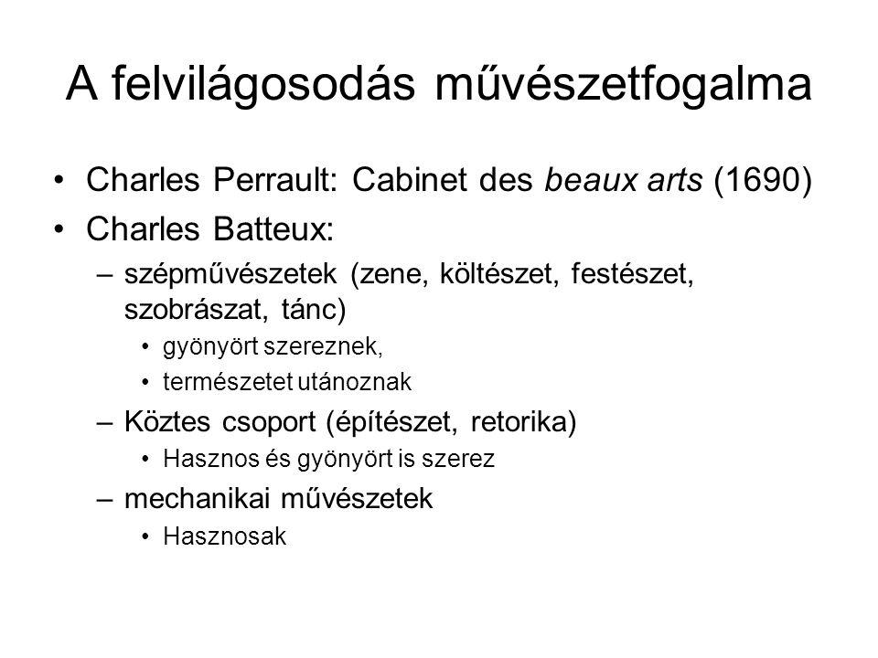 A felvilágosodás művészetfogalma •Charles Perrault: Cabinet des beaux arts (1690) •Charles Batteux: –szépművészetek (zene, költészet, festészet, szobr