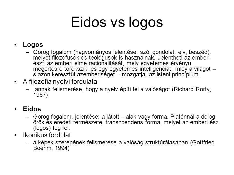 Eidos vs logos •Logos –Görög fogalom (hagyományos jelentése: szó, gondolat, elv, beszéd), melyet filozófusok és teológusok is használnak. Jelentheti a