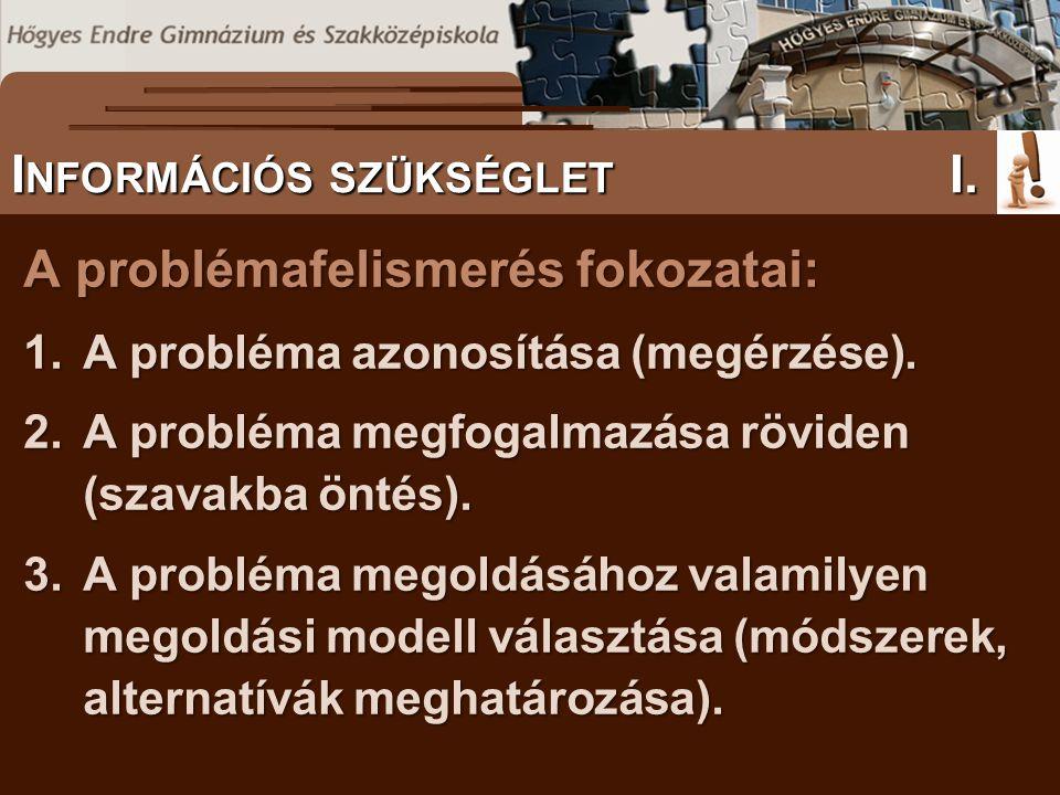 A problémafelismerés fokozatai: 1.A probléma azonosítása (megérzése). 2.A probléma megfogalmazása röviden (szavakba öntés). 3.A probléma megoldásához