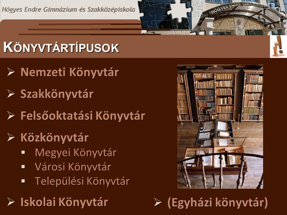  Nemzeti Könyvtár  Szakkönyvtár  Felsőoktatási Könyvtár  Közkönyvtár  Megyei Könyvtár  Városi Könyvtár  Települési Könyvtár  Iskolai Könyvtár