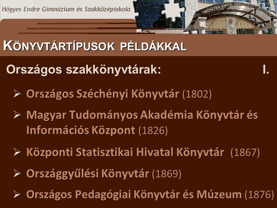  Országos Széchényi Könyvtár (1802)  Magyar Tudományos Akadémia Könyvtár és Információs Központ (1826)  Központi Statisztikai Hivatal Könyvtár (186