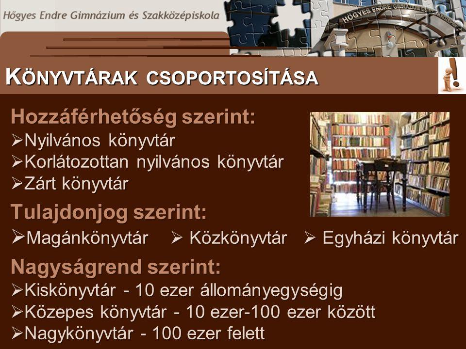 Hozzáférhetőség szerint:  Nyilvános könyvtár  Korlátozottan nyilvános könyvtár  Zárt könyvtár Tulajdonjog szerint:  Magánkönyvtár  Közkönyvtár 