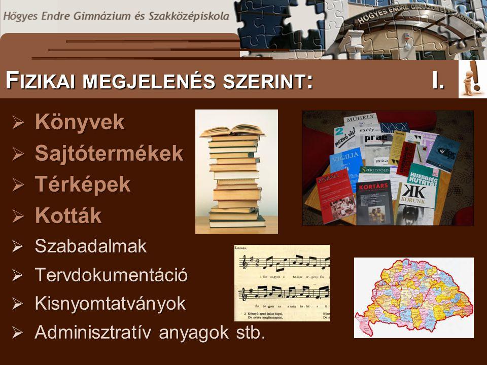  Könyvek  Sajtótermékek  Térképek  Kották  Szabadalmak  Tervdokumentáció  Kisnyomtatványok  Adminisztratív anyagok stb.